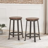 Simpson Solid Wood 24 Counter Stool (Set of 2) by 17 Stories