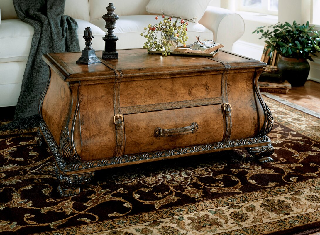 Leather faux leather coffee tables youll love wayfair kaya bombe coffee table trunk geotapseo Gallery