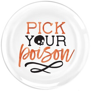 Halloween Pick Your Poison Plastic Appetizer Plate (Set of 8)