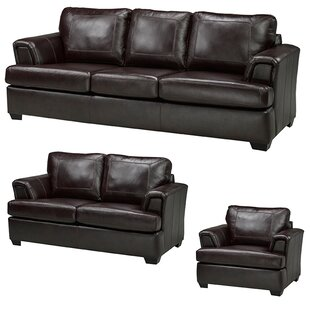 Verano Leather 3 Piece Living Room Set by Loon Peak