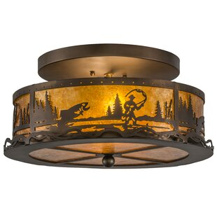 Meyda Tiffany Fly Fishing Creek 2-Light Flush Mount