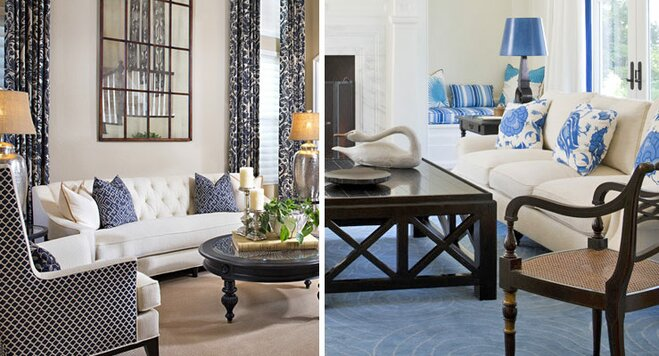 Blue And White Living Room Decorating Ideas how to decorate a blue and white living room | wayfair