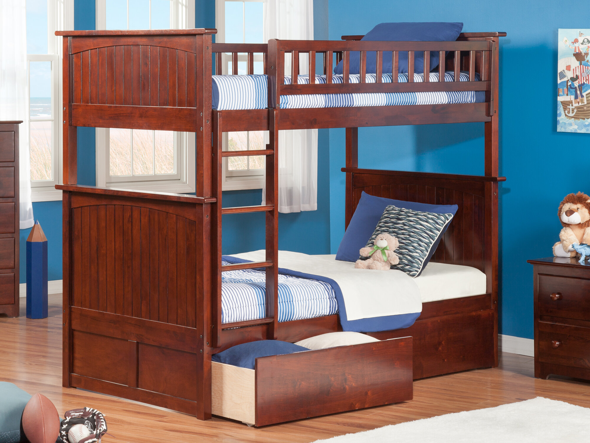 sports shoes 6a709 485ba Abbie Twin Over Twin Bunk Bed with Drawers