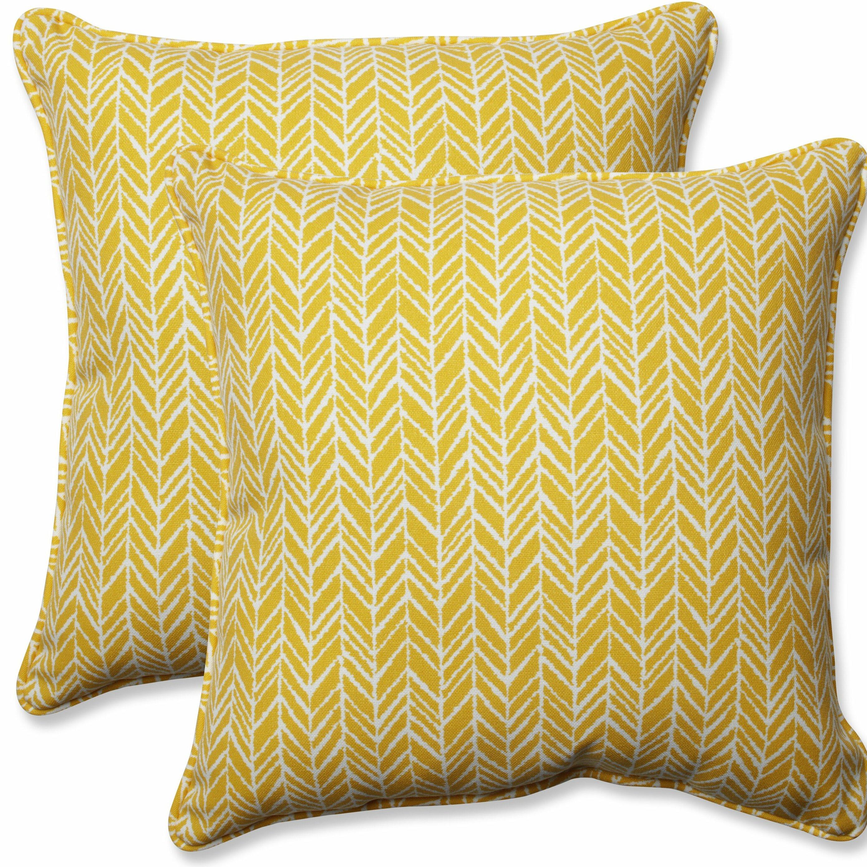 Pillow Perfect Herringbone Indoor Outdoor Throw Pillow Reviews Wayfair