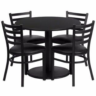 Ebern Designs Laux Round Laminate 5 Piece Dining Set