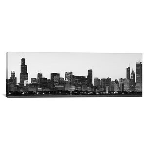 Chicago Panoramic Skyline Cityscape Photographic Print On Canvas In Black  And White