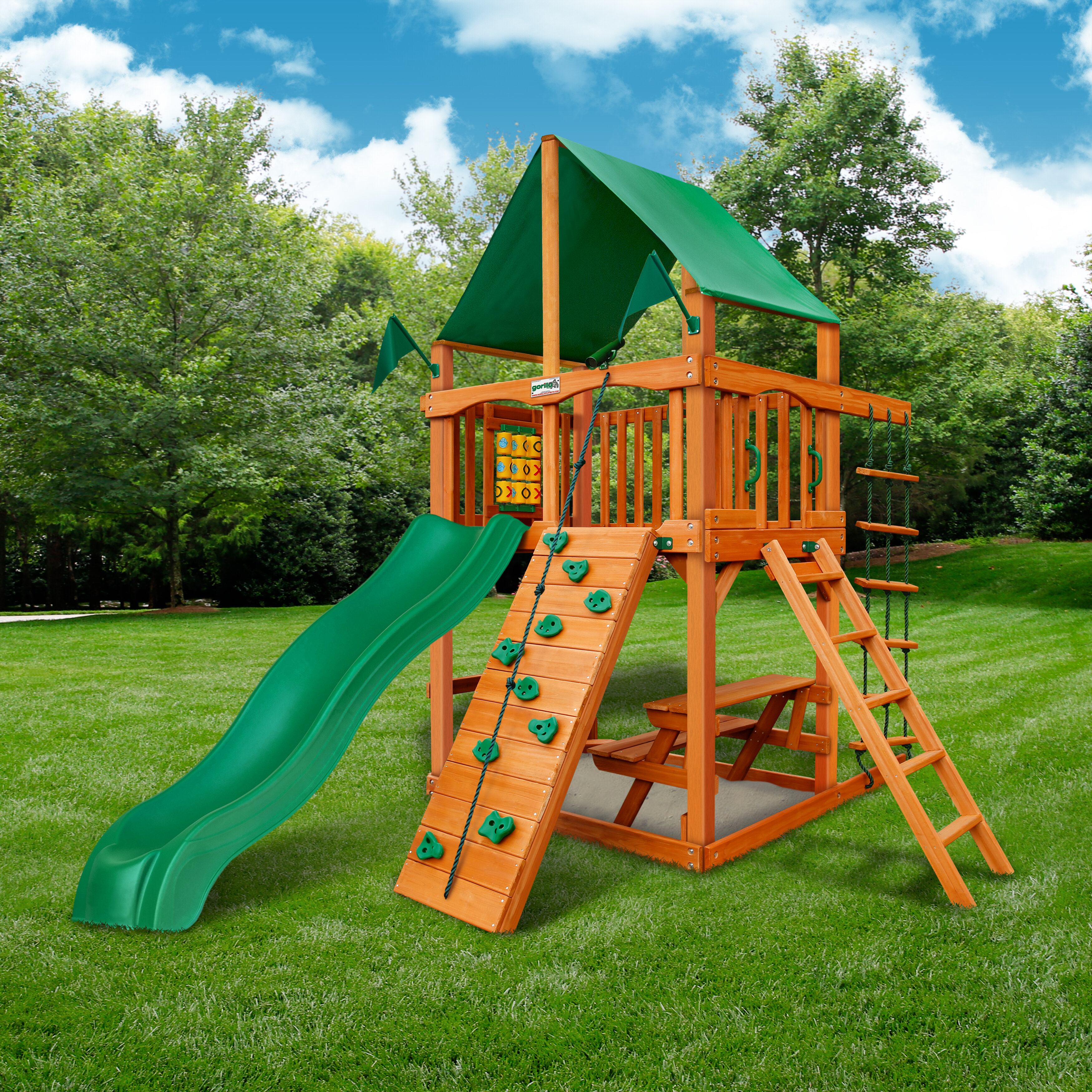 Gorilla Playsets Chateau Tower Swing Set With Canopy Roof Wayfair