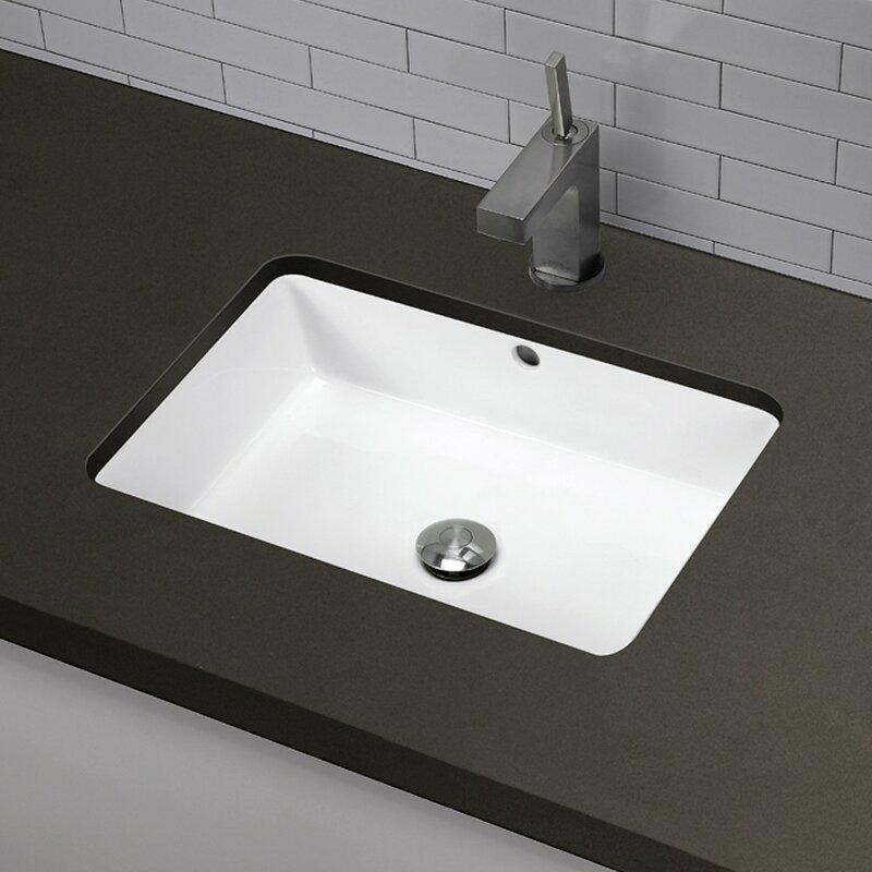Classically Redefined Ceramic Rectangular Undermount Bathroom Sink With  Overflow