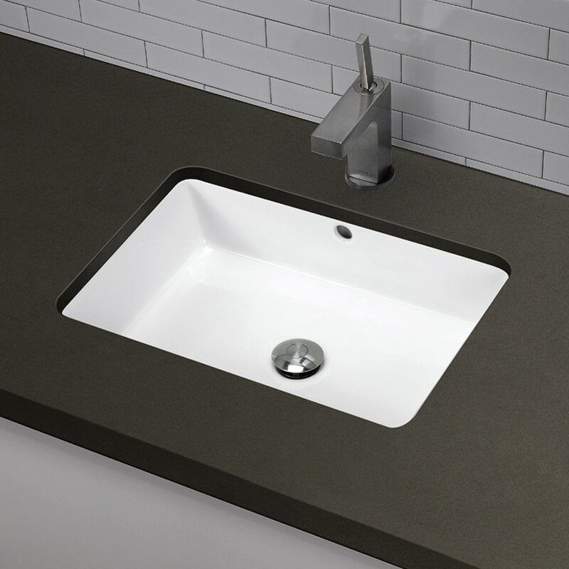 Lilli Clically Redefined Ceramic Rectangular Undermount Bathroom Sink With Overflow