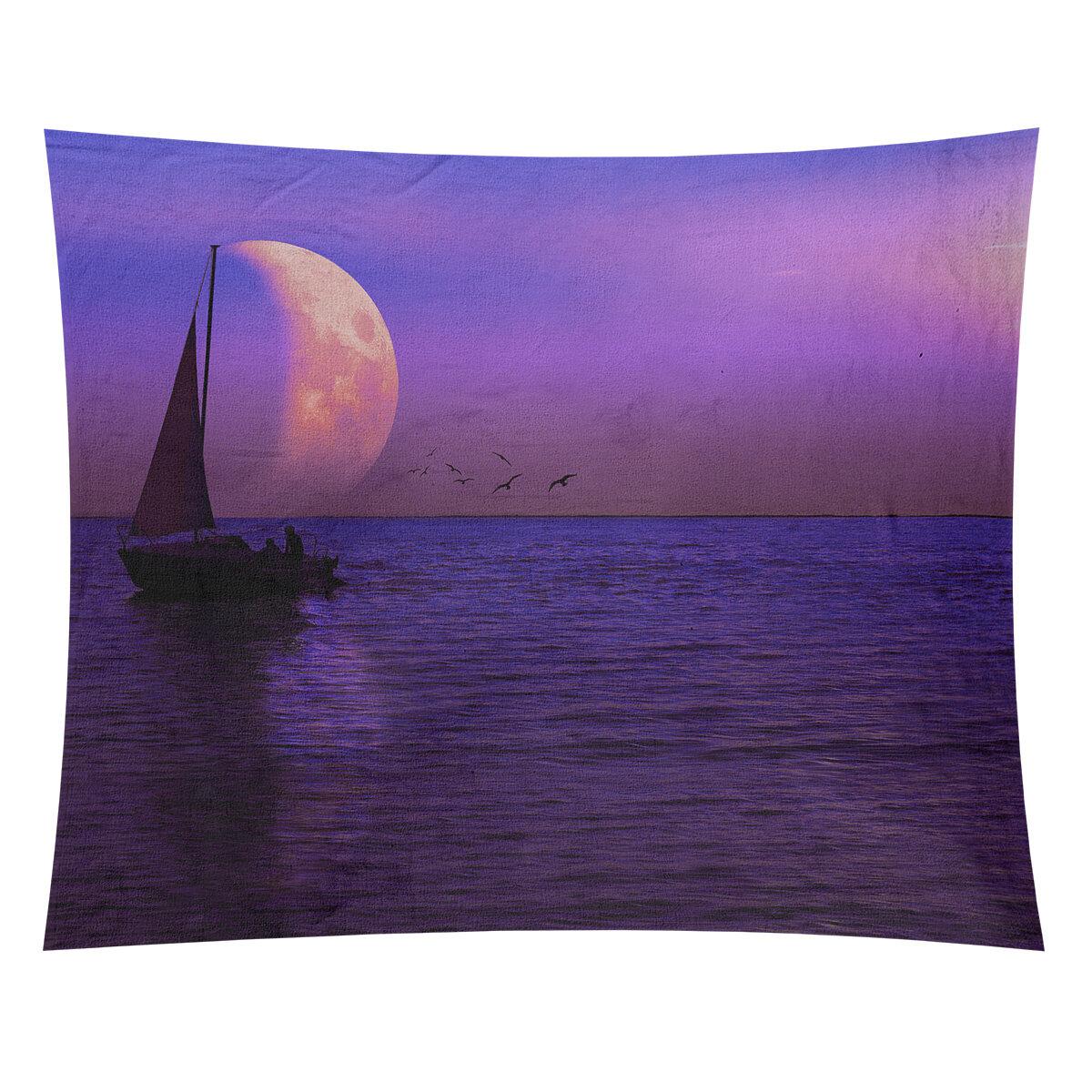 Wrought Studio Moon And Sailboat Tapestry Wayfair