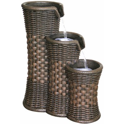 2 Piece Resin Everwoven Outdoor Fountain Set with Light Alfresco Home