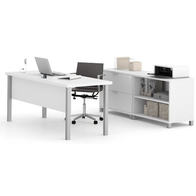 Comm Office Heyworth 3-Piece Desk Office Suite Color: White