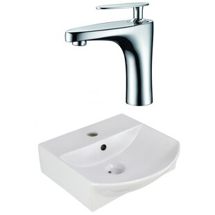 Price Check Ceramic U-Shaped Bathroom Sink with Faucet and Overflow ByAmerican Imaginations