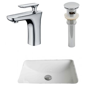 Best Reviews Ceramic Rectangular Undermount Bathroom Sink with Faucet and Overflow By American Imaginations