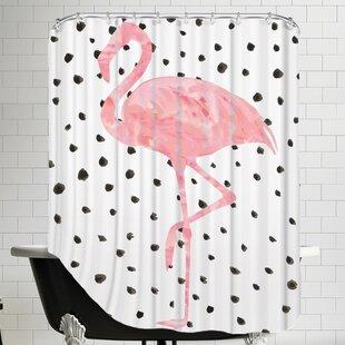 Peach & Gold Pink Flamingo on Polka Dots Shower Curtain