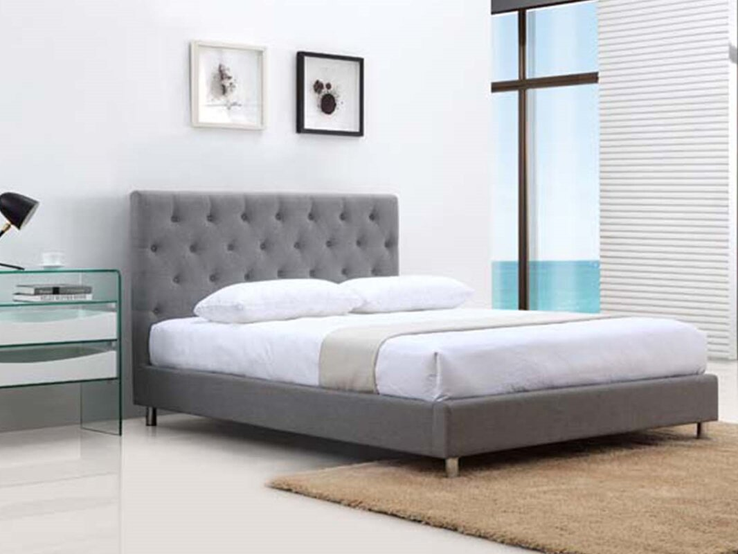 casabianca furniture otto fabric queen upholstered platform bed  - defaultname