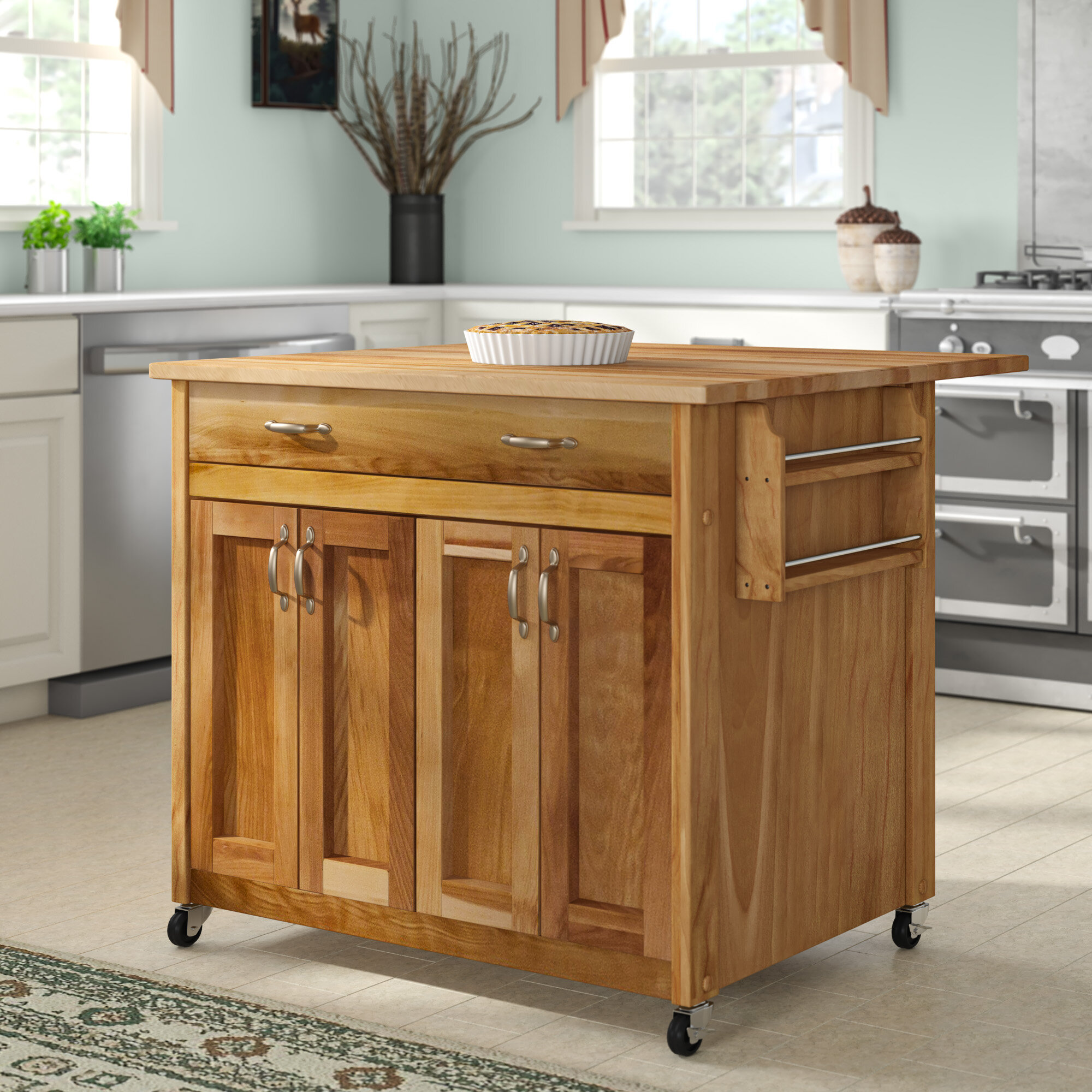 Winston Porter Levar Kitchen Island With Butcher Block Top Reviews Wayfair
