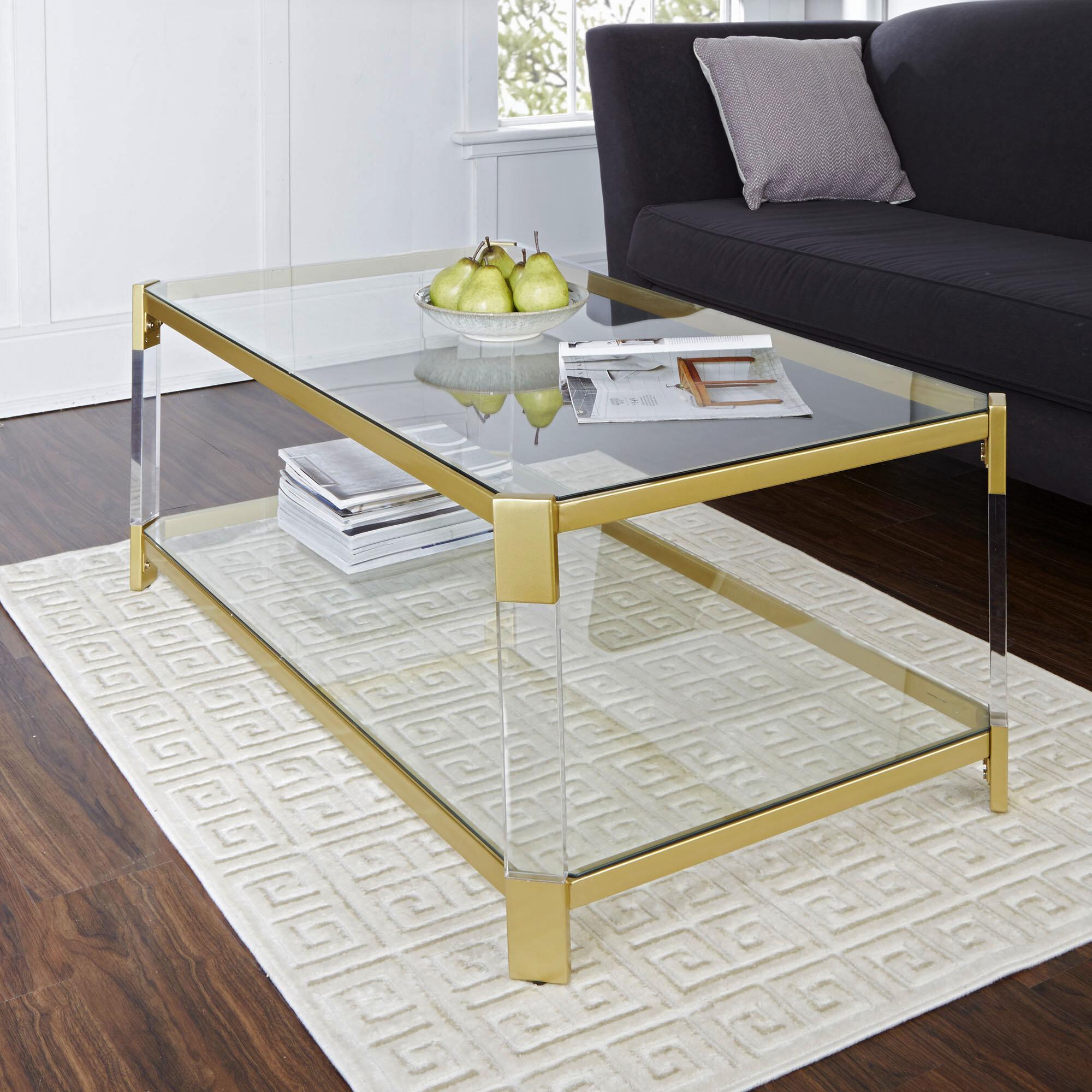 Everly Quinn Hythe Clear Glass Coffee Table Reviews Wayfair
