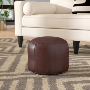 Reviews Neasa Fez Leather Pouf By Ivy Bronx