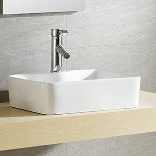 Modern Ceramic Square Vessel Bathroom Sink ByFine Fixtures