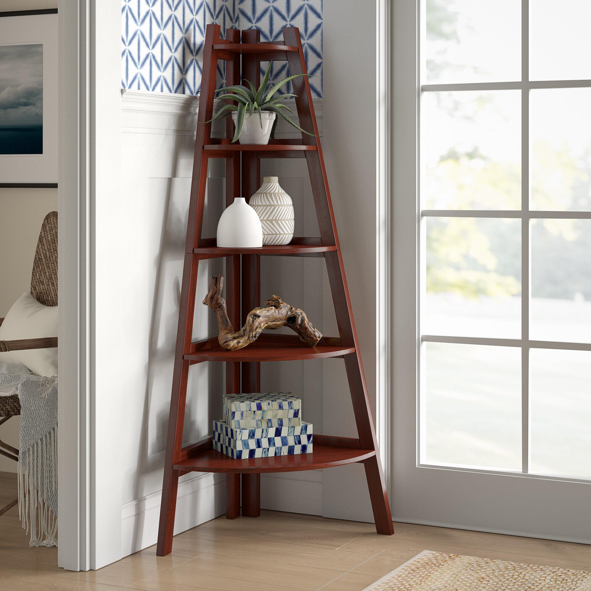 Beachcrest Home Pierview Corner Bookcase Reviews Wayfair
