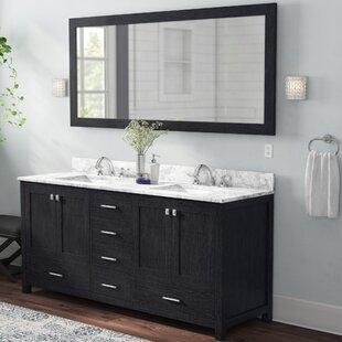 Raishon 72 Double Bathroom Vanity Set with White marble and Mirror