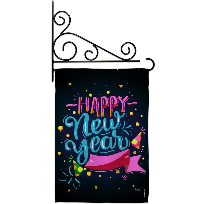 Breeze Decor Popping Happy New Year 2 Sided Polyester 19 X 13 In Flag Set Wayfair