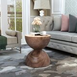 Seltzer Solid Wood Drum End Table by Bungalow Rose