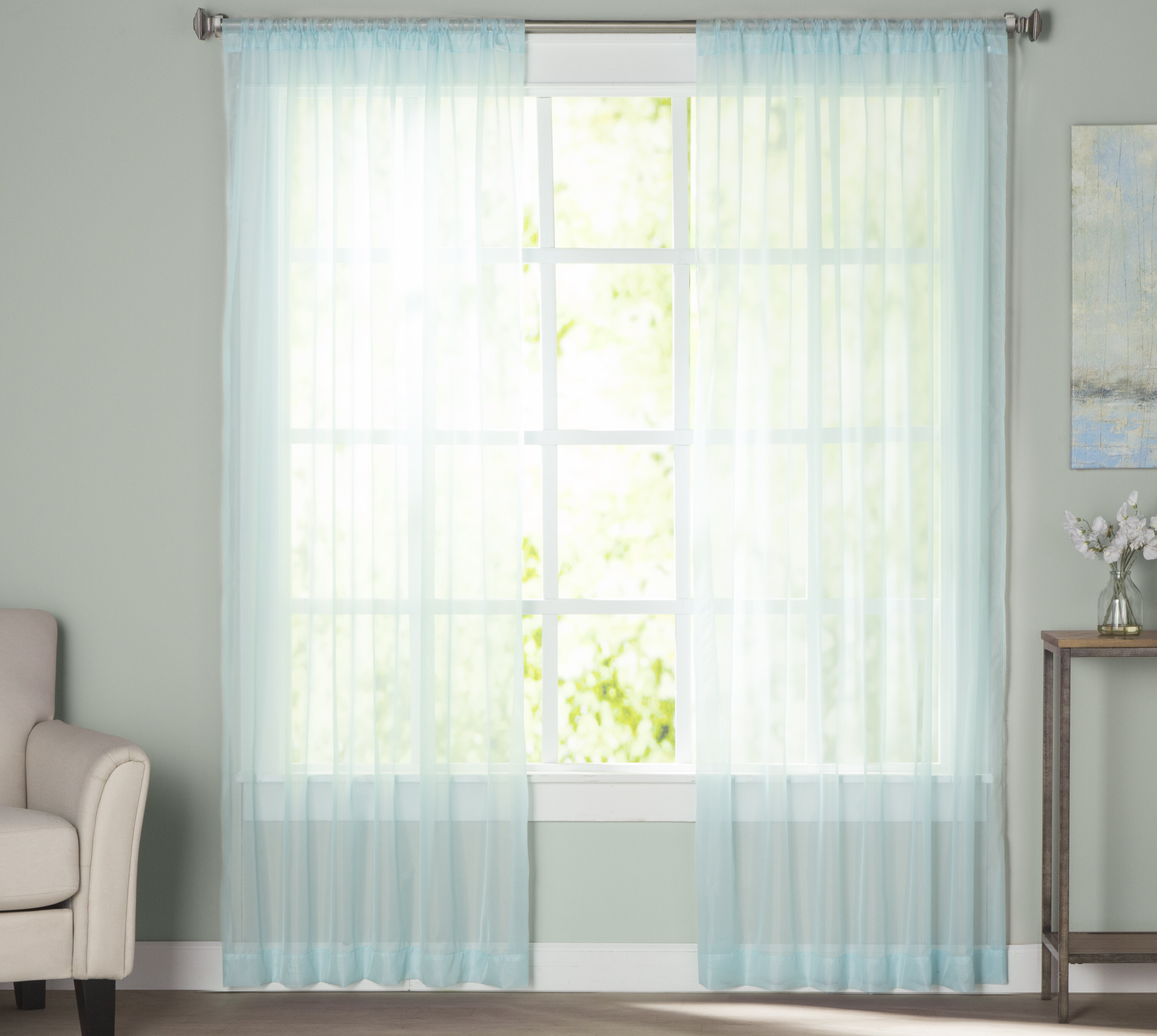 Blue Sheer Curtains Drapes You Ll Love In 2021 Wayfair