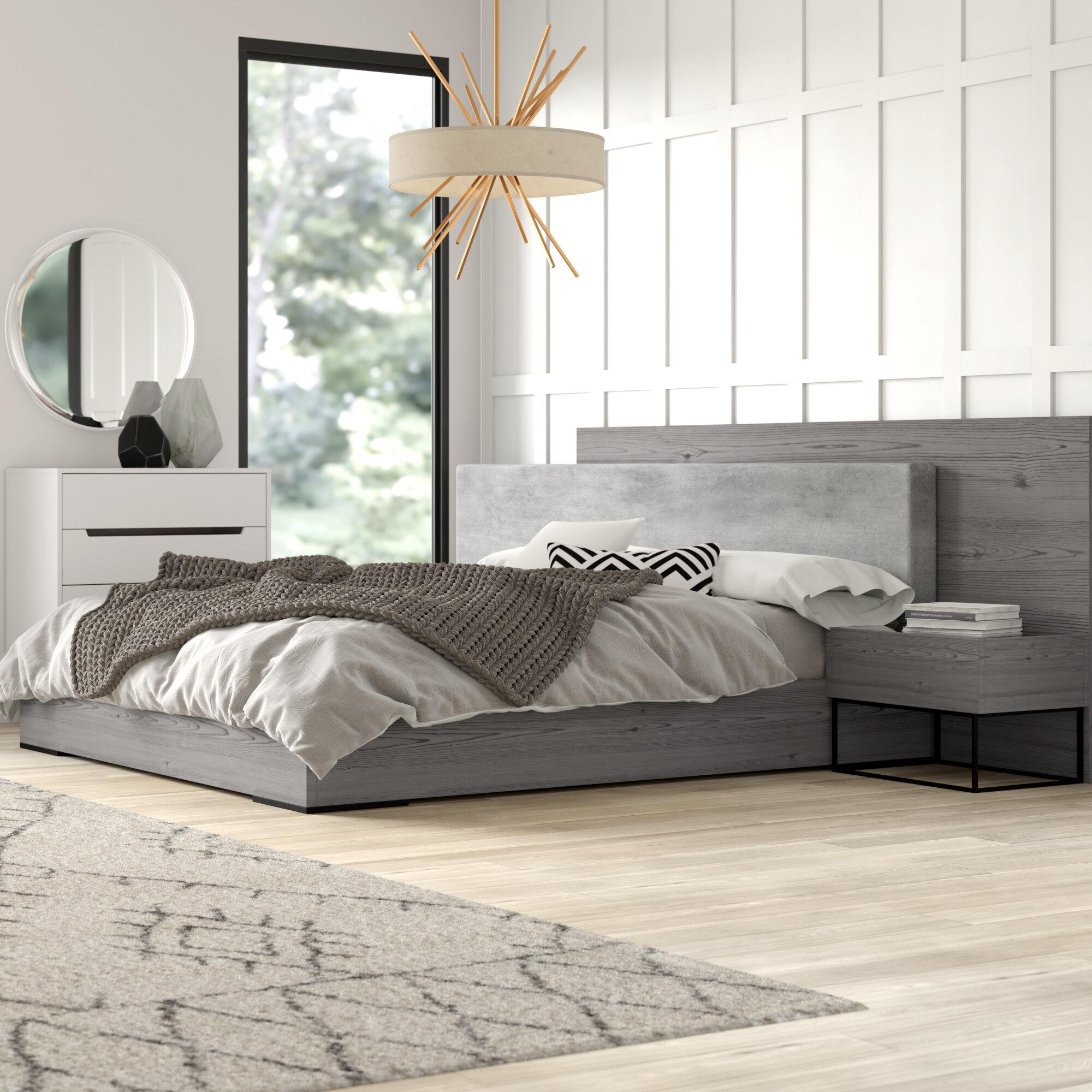 Mercury Row Mraz Upholstered Platform 3 Piece Bedroom Set