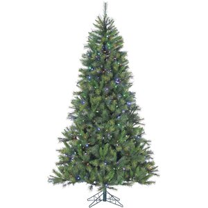 Pine 7.5' Green Artificial Christmas Tree with 550 LED String Multi-Color Lights and Stand