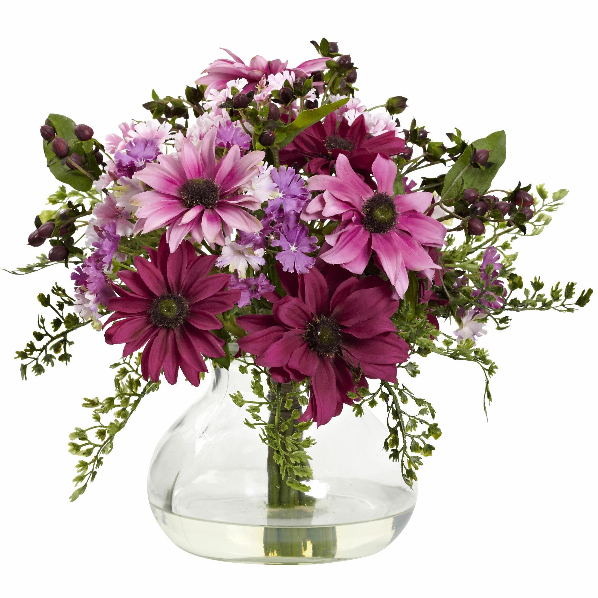 August Grove Mixed Daisy Floral Arrangement In Vase Reviews Wayfair