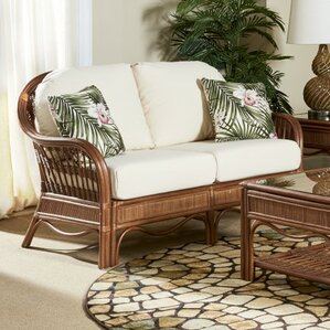 Bermuda Jasmine Antique Stripe Loveseat by South Sea Rattan