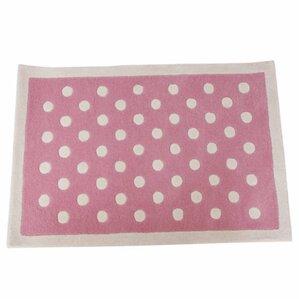 Polka Dot Hand Tufted Pink/White Kids Rug