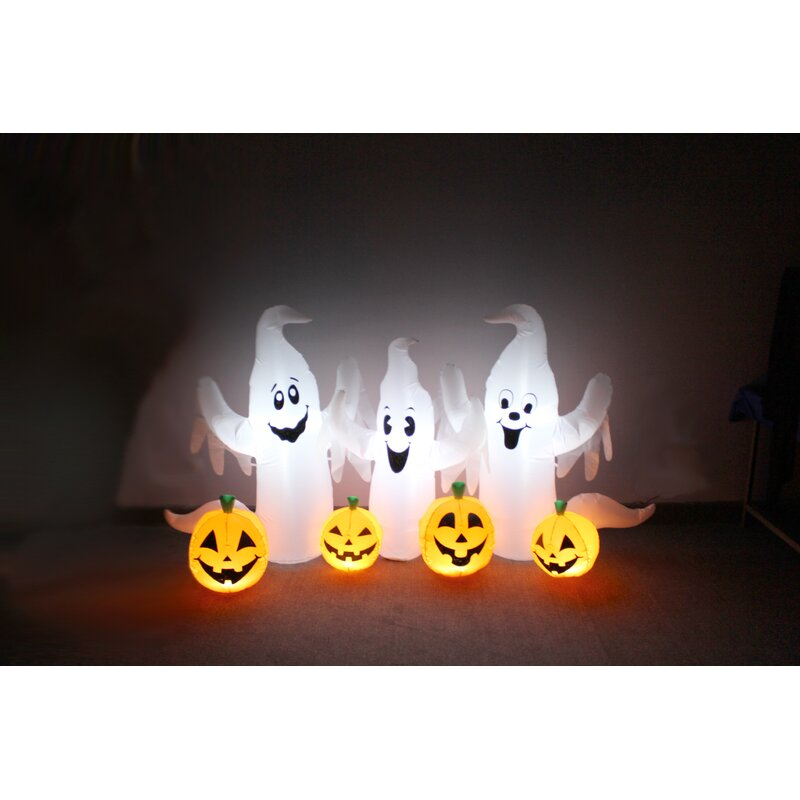 ghosts and pumpkins patch yard halloween inflatable