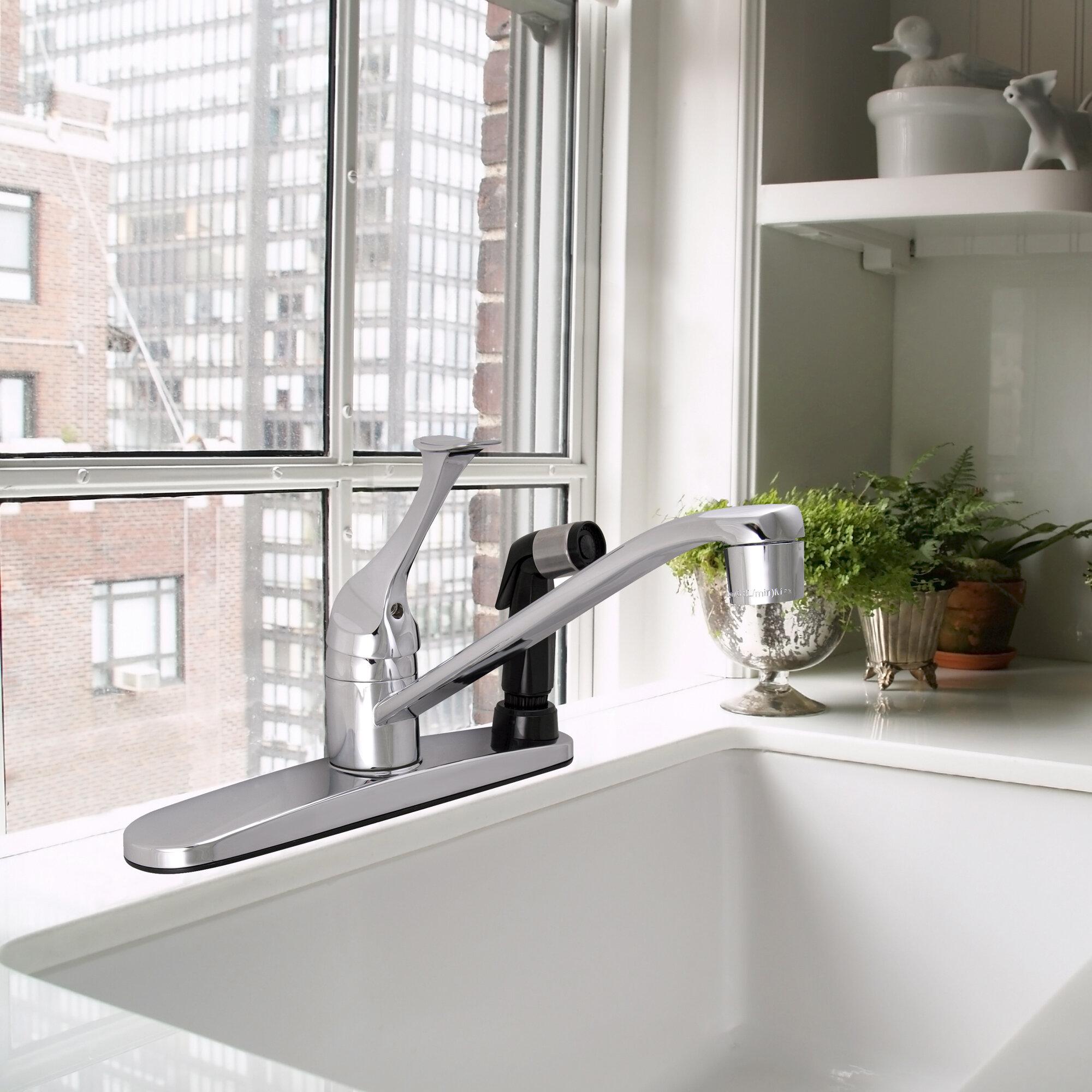 Winston Porter Kalona Single Handle Kitchen Faucet With Side Spray Wayfair