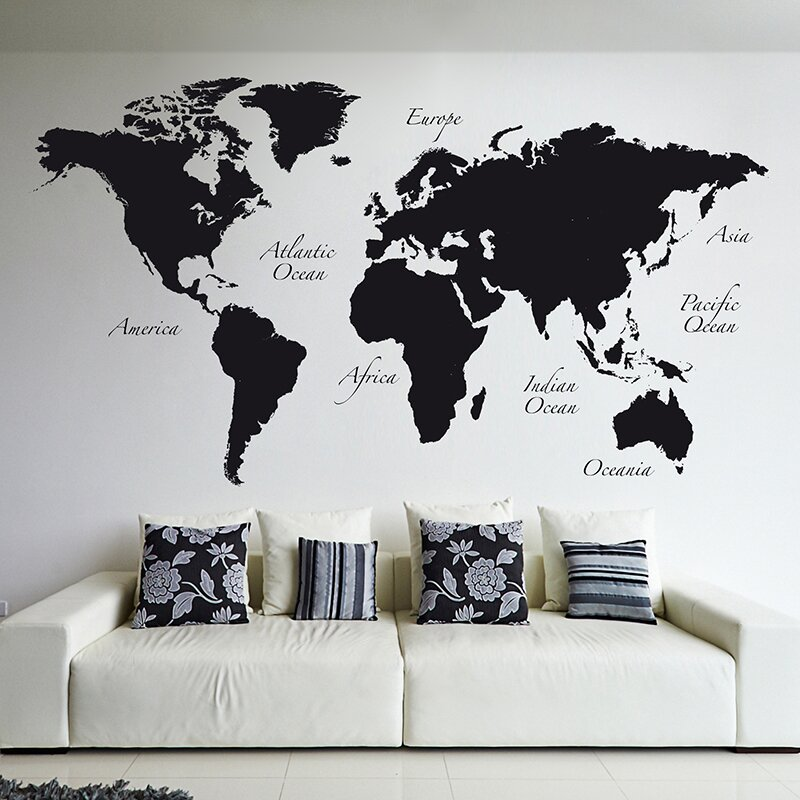 WallPops World Map Wall Decal Reviews Wayfair - World map wallpaper decal