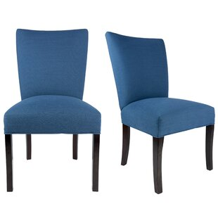 Knowlson Upholstered Parsons Chair in Denim Blue (Set of 2) by Rosecliff Heights