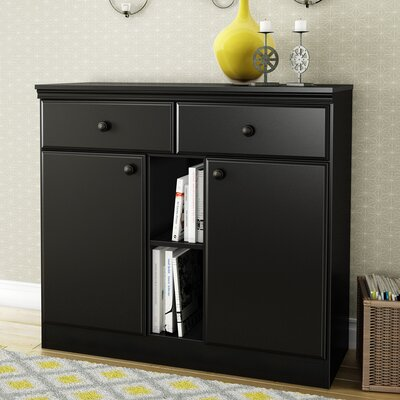 """Andover Mills Caines 38"""" Wide 2 Drawer Credenza  Color: Pure Black"""