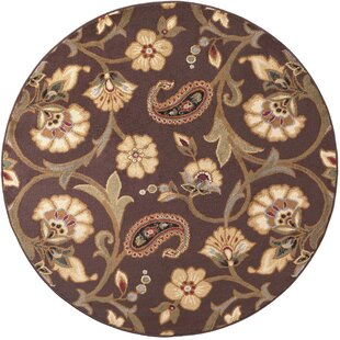 Lapoint Brown 7 ft. 10 in. Round Transitional Area Rug by Astoria Grand