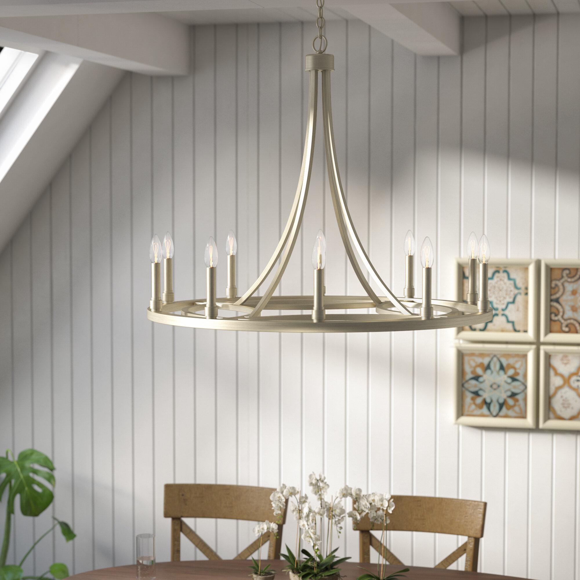Willa Arlo Interiors Emery 10 Light Candle Style Wagon Wheel Chandelier Wayfair