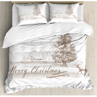 Christmas Romantic Vintage New Year Scene with Reindeer Tree Star Holy Design Image Duvet Cover Set