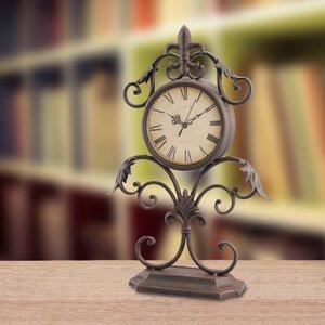 Fleur de Lis Scrolled Tabletop Clock
