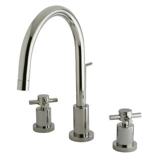 Elements of Design Concord Single Hole Widespread Bathroom Faucet with Brass Pop-Up