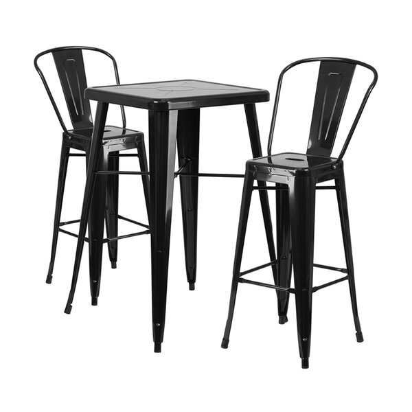 Black And Cherry Dining Set With Bar Stools To Match