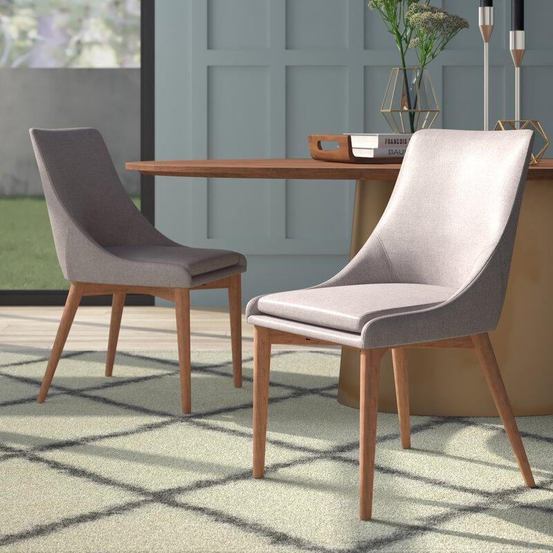 Mercury Row Blaisdell Linen Upholstered Side Chair In Natural Oak Reviews Wayfair