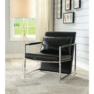 Siebert Polyurethane Upholstered Metal Armchair with Pillow