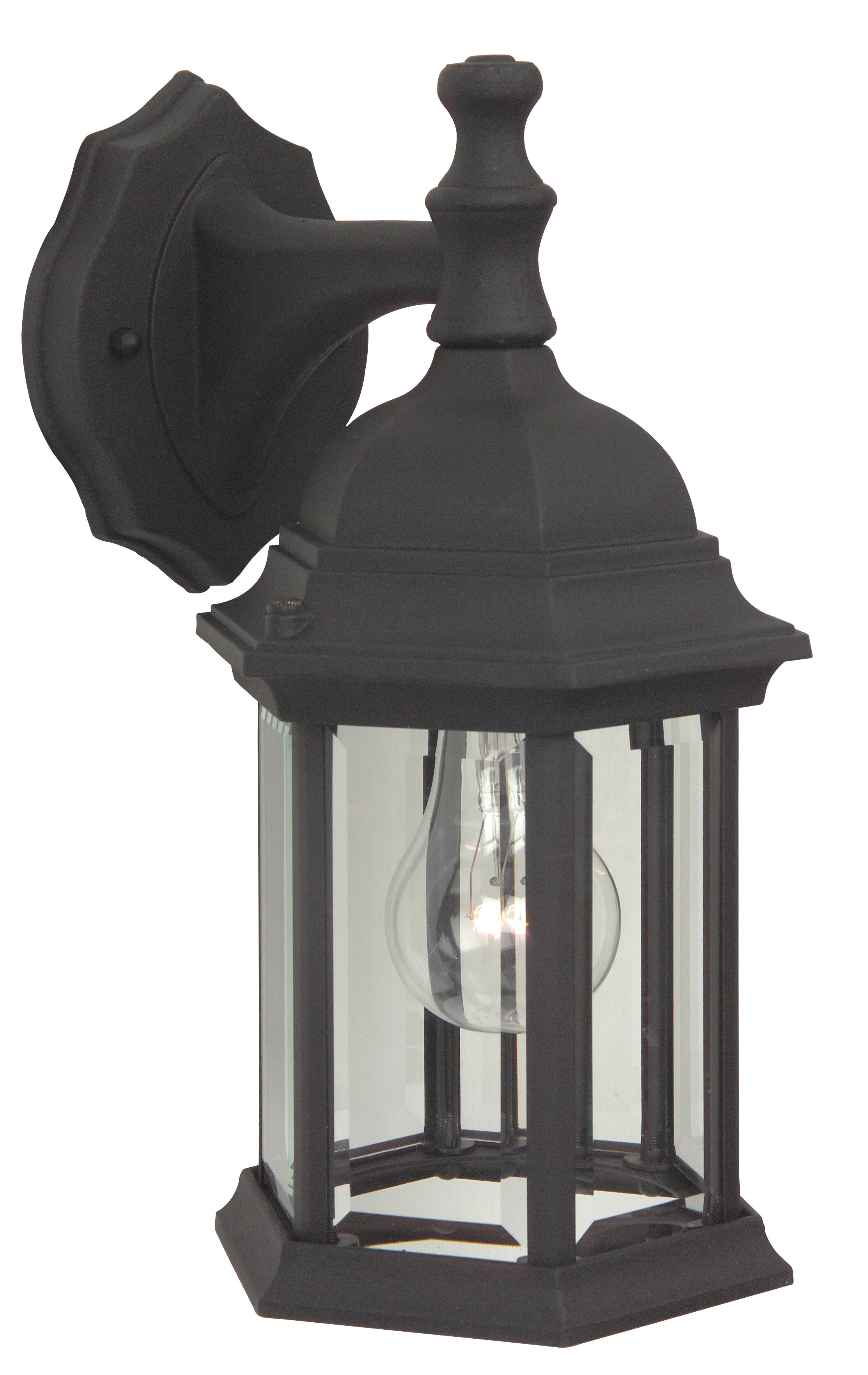 HAMPTON BAY 1-Light Matte Black Outdoor Jelly-Jar Wall Light Weather Resistant