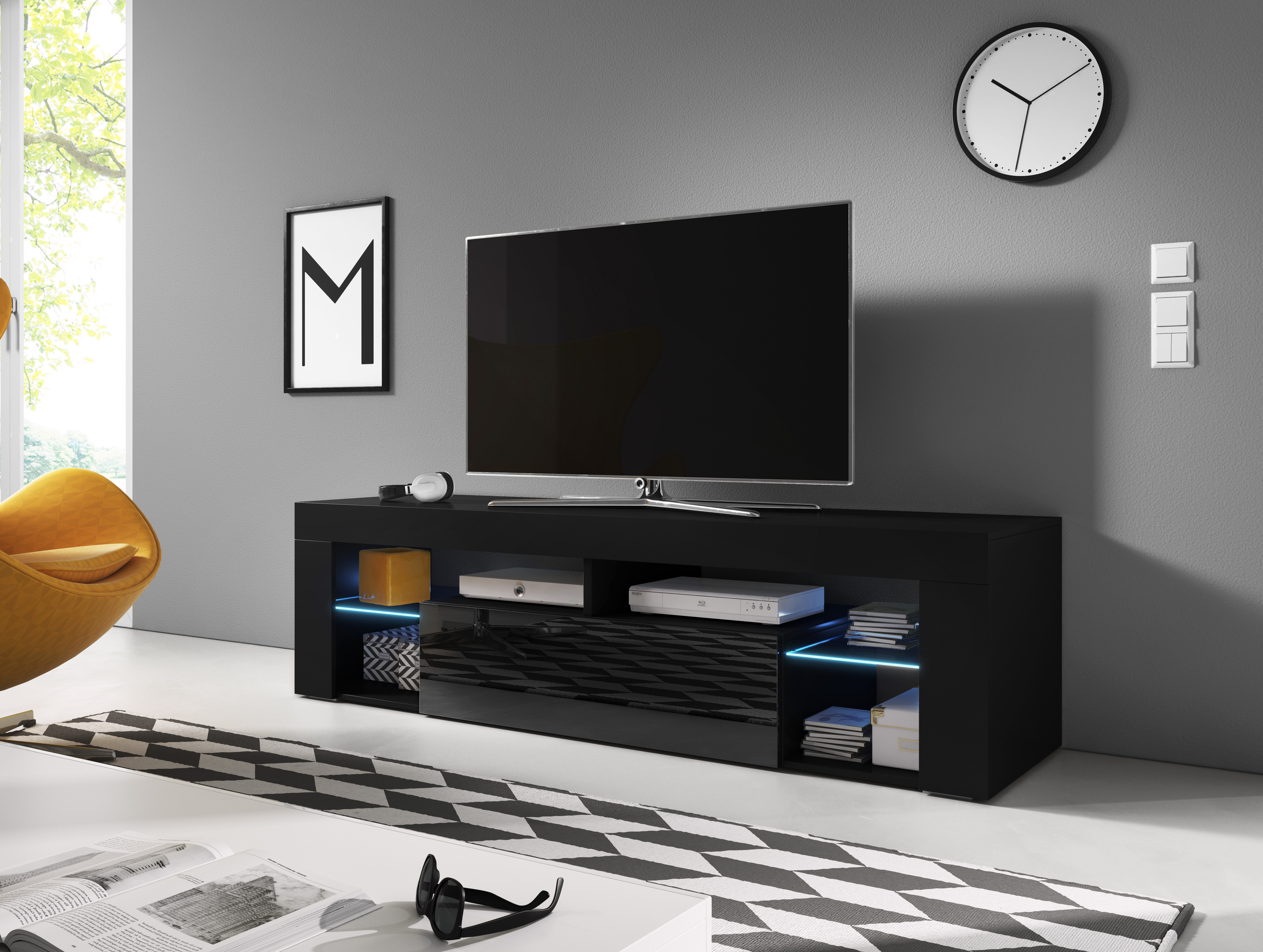 Metro Lane Bevelde Tv Stand For Tvs Up To 60 With Led Lighting Reviews Wayfair Co Uk