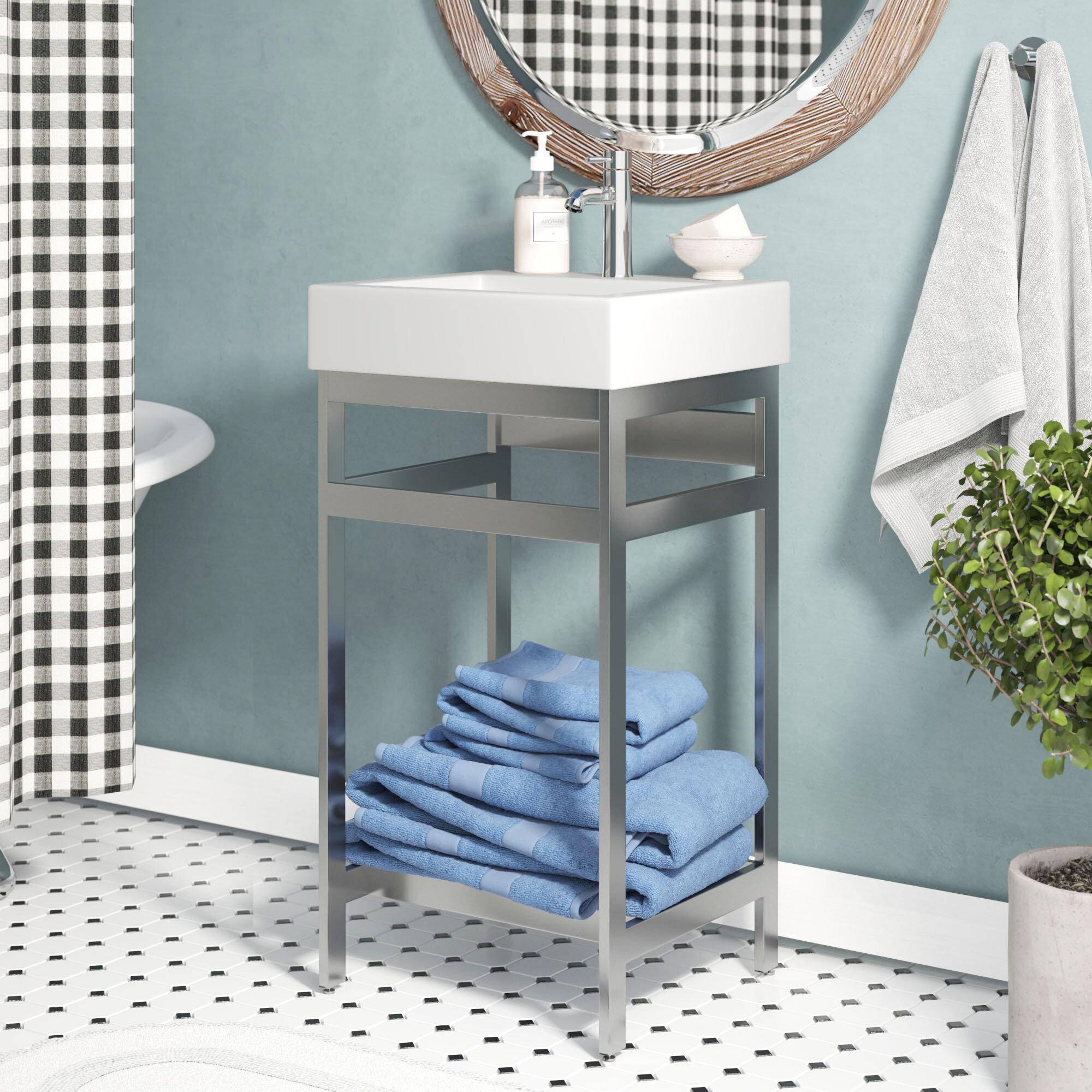 Ivy Bronx Arverne Stainless Steel Open Console 18 Single Bathroom Vanity Set Reviews Wayfair